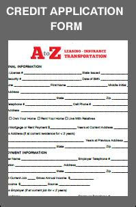 Credit Application Form Lease A To Z Leasing 230 Page Avenue Fl 2 Staten Island New York 10307 718 967 8800