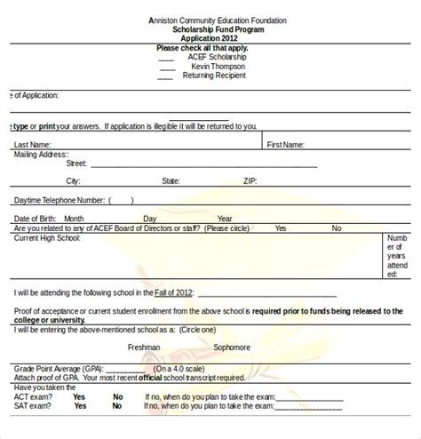 scholarship forms template scholarship application template 10 free word pdf