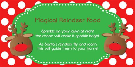 printable magic reindeer food poem 6 best images of printable reindeer food saying magic
