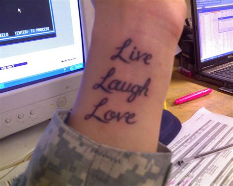 live tattoo live laugh wrist tattoos www pixshark images