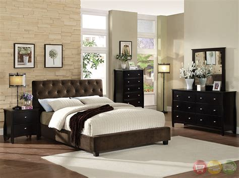 cordell brown platform bedroom set with padded velvet