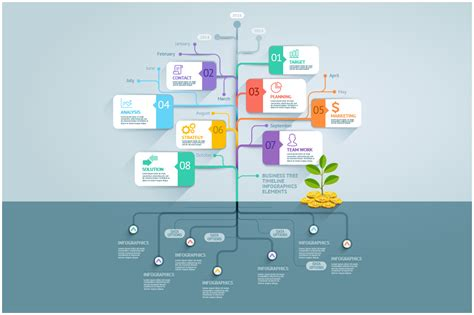 Business Tree Timeline Infographics Presentation Templates On Creative Market Family Tree Template Info Graphics