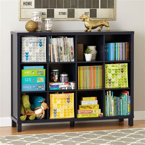twelve cube wide bookcase navy the land of nod