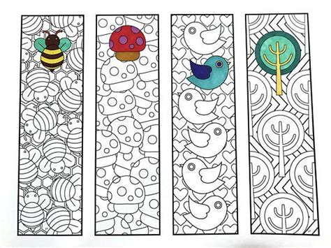 free printable nature bookmarks print and color cute nature bookmarks pdf zentangle
