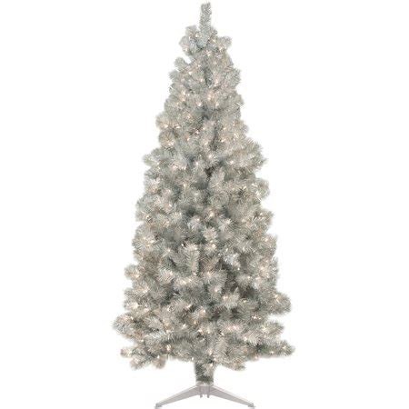 9 silver christmas tree pre lit 6 silver artificial tree 250 lights walmart