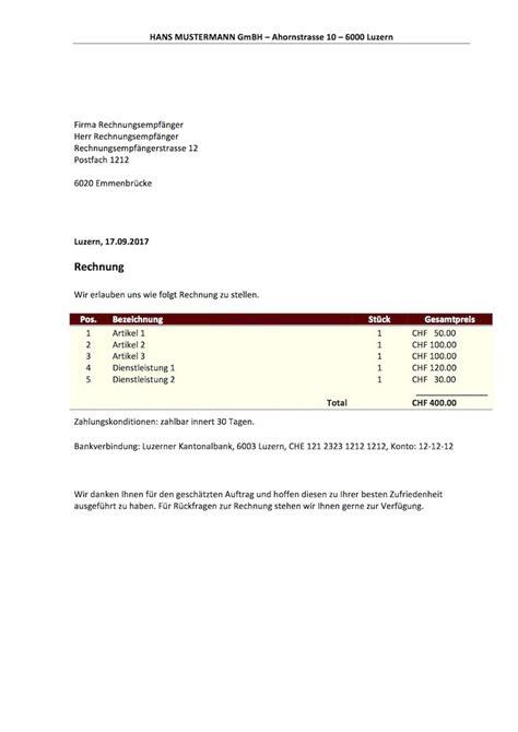 Rechnung Schweiz Stellen rechnungsvorlage schweiz f 252 r word excel kostenlos