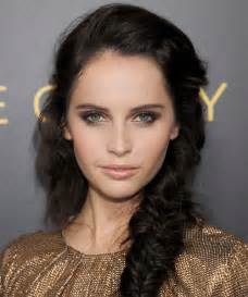 Felicity jones updo curly casual braided hairstyle dark brunette
