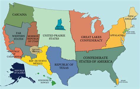 united states map up hypothetical map of a split up united states imaginarymaps
