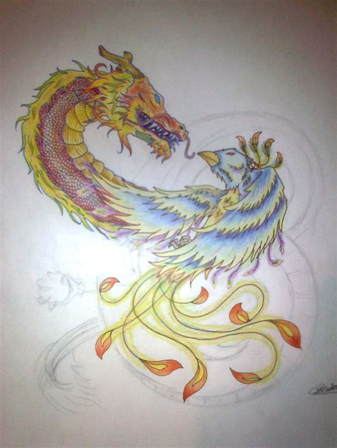 phoenix and dragon tattoo designs vs design by drmcka on deviantart