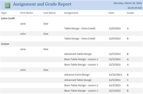 student grade report template microsoft access student assignment grade tracking