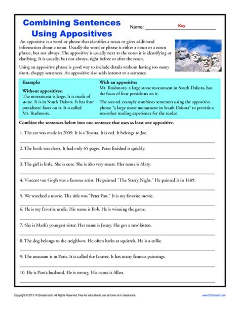Appositive Worksheets by Language 7th Grade Ela Common Collection Lesson Planet