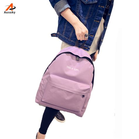 Backpack 3 Student Book ausuky brand simple korean style color canvas backpack college student school