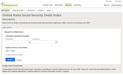 Free Ssi Index Records Searching The U S Social Security Index