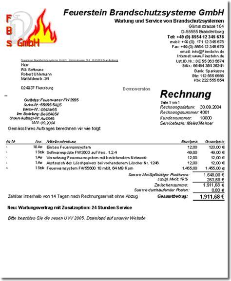 Musterrechnung Handwerk rechnungssoftware zur wartung service technischer ger 228 te