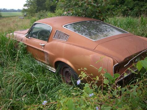 rusty muscle car 60 s ford mustang fastback left in a field rusty muscle