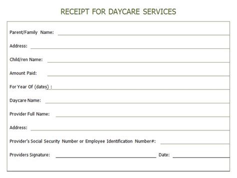 child care receipt template uk receipt for year end daycare services daycare printables