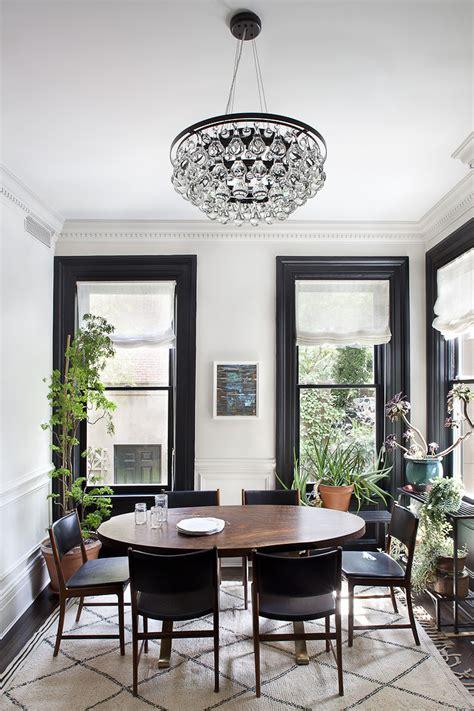 Kitchen Nook Furniture design ideas black trim white walls the decorista