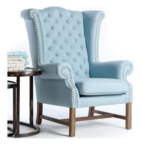 Blue Tufted Chair brton sky blue cotton tufted s wing chair kathy kuo home