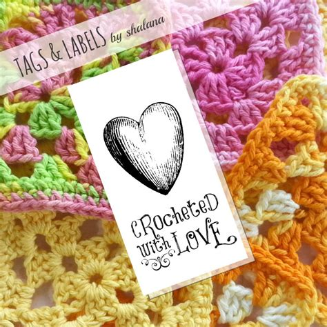 Labels For Handmade Crochet Items - printable pdf tags or labels crocheted with