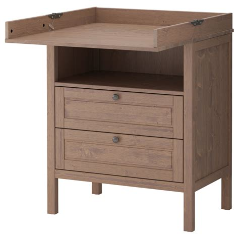 sundvik changing table chest of drawers grey brown
