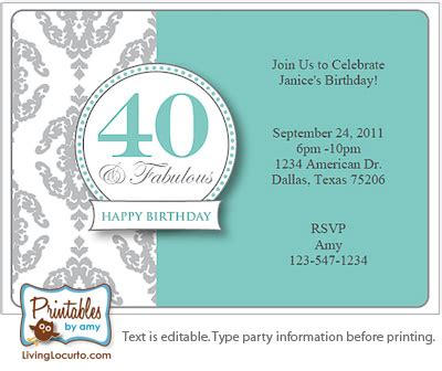 40th party invitations template best template collection