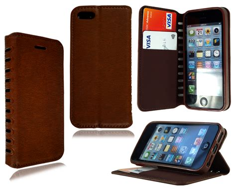 Exclusive Design Kulit For Iphone 5 5s Leather Black Or Brown for apple iphone 5s 6 7 plus new stylish leather flip stand wallet glass ebay
