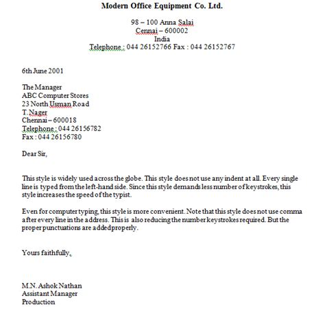 Business Letter Exles Block Styles Format Business Letter Okhtablog