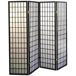 Panel Room Divider 4 Panel Shoji Screen Room Divider Black Walmart