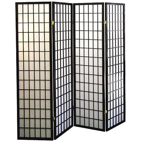 4 Panel Shoji Screen Room Divider Black Walmart Com Room Divider Screen