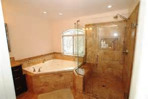 Corner Tub Bathroom Ideas Corner Tub Shower Seat Master Bathroom Reconfiguration Yorba Traditional Bathroom