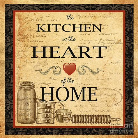 printable vintage kitchen art kitchen is the heart painting by jean plout