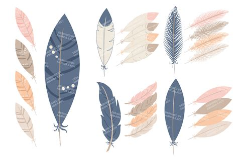 three feathers in blush teal navy blush feather vector clipart illustrations on
