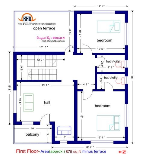 Second Floor House Plans Indian Pattern | 3 bedroom house plans 1200 sq ft indian style