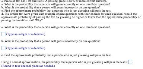 preguntas con both a true false test has 140 questions a passing gra