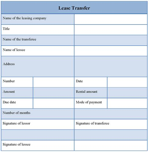 transfer template lease transfer format of lease transfer template sle