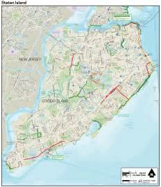 New York Bike Map by Large Detailed Staten Island New York Bike Map Large