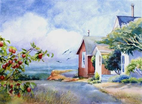 cottages by the sea buy original by catherine mccargar watercolor