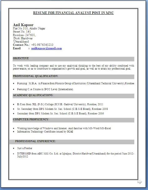 Resume Format Doc For Fresher 10th Pass Ca Inter Resume Format