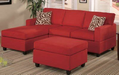 small sectional sofa  red microfiber  poundex