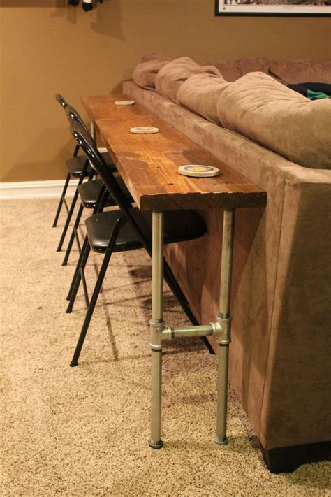 sofa table bar table made from 2x8x12 board and conduit