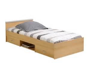 lit avec tiroirs et niche de rangement tom conforama