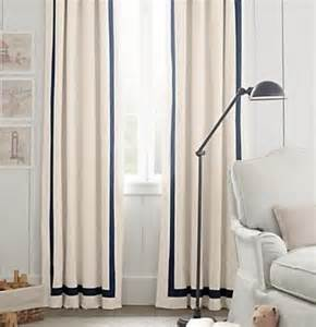 White Curtains With Blue Trim Pair Two 50w Panels Grosgrain Ribbon Trim By