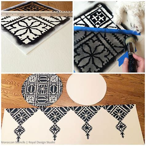 diy moroccan decor stenciled moroccan pouf paint pattern