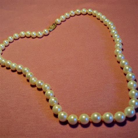Retro Princess Pear Collar vintage cultured pearl princess length strand necklace 14k filigree from unforgettable on ruby