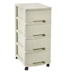 4 drawer plastic storage unit with wheels chest of drawers