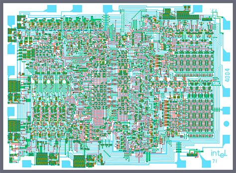 the images of integrated circuit and microprocessor intel 4004 cpu silicon wafer composite integrated circuit mask diagram photograph by stephen charles
