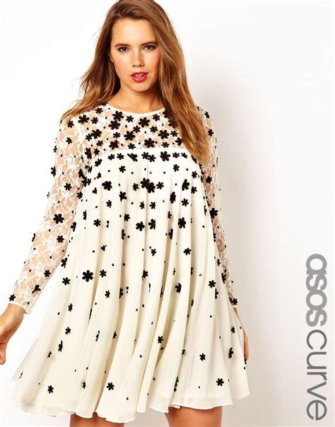 asos curve swing dress asos curve swing dress with applique in black lyst