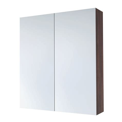 austen 2 door mirror cabinet 600mm pacific walnut saneux