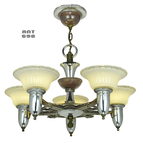 Vintage Ceiling Light Fixtures Deco Streamline Style Chandelier Antique 5 Light Ceiling Fixture Ant 698 For Sale