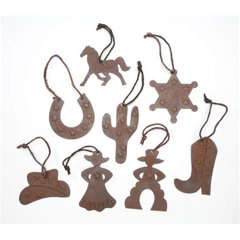 rustic tin western cowboy christmas ornaments set